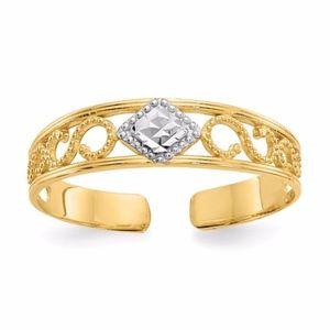 14k And Rhodium Diamond-Cut Toe Ring